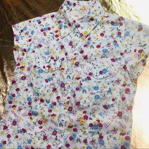 Pearl snap Western rockabilly floral shirt
